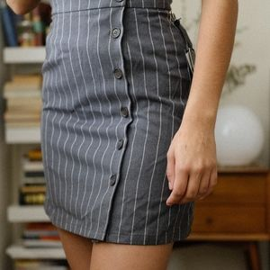 Button-up Mini Skirt with Suspenders